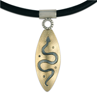Serpent Pendant in 14K Yellow Gold Design w Sterling Silver Base