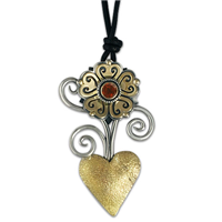 Heart Flower Pendant in Garnet
