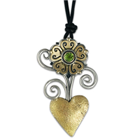 Heart Flower Pendant in 14K Yellow Design/Sterling Base