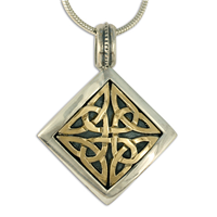 Dublin Pendant in 14K Yellow Gold Design w Sterling Silver Base