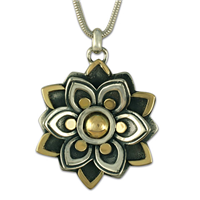 Kamala Pendant in 14K Yellow Gold Design w Sterling Silver Base
