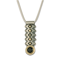 Zig Zag Pendant with Gem in 14K Yellow Gold Design w Sterling Silver Base