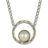 Mabe Circle Necklace in 14K Yellow Gold Design w Sterling Silver Base