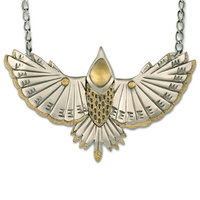 Flicker Necklace in 14K Yellow Gold Design w Sterling Silver Base