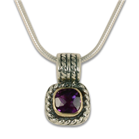 Mini Athena Pendant with gem in Amethyst