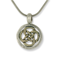 Sita Circle Pendant in 14K Yellow Gold Design w Sterling Silver Base