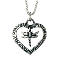 Taliesin Heart Dragonfly Pendant in Sterling Silver
