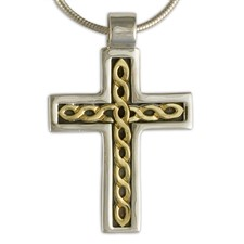 Rope Cross in 14K Yellow Gold Design w Sterling Silver Base