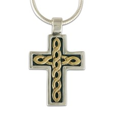 Rope Cross Small in 14K Yellow Gold Design w Sterling Silver Base