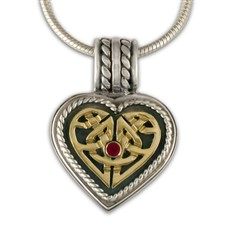 Twisted Heart Pendant in Ruby