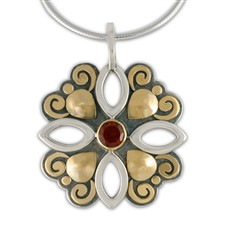 Devi Pendant in 14K Yellow Gold Design w Sterling Silver Base