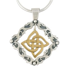 Davina Karasel Loop Pendant in 14K Yellow Gold Design w Sterling Silver Base