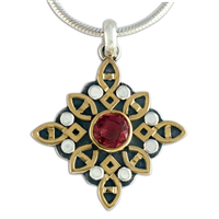 Madrigal Pendant in 14K Yellow Gold Design w Sterling Silver Base