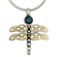 Dragonfly Pendant in 14K Yellow Design/Sterling Base