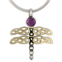 Dragonfly Pendant in Amethyst