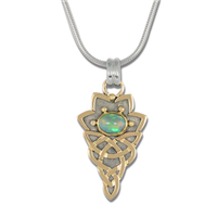 Neopolitan Pendant with Ethiopian Opal in 14K Yellow Gold Design w Sterling Silver Base