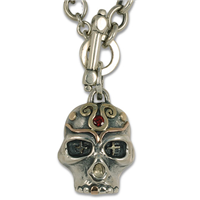 Eva Skull Necklace in 14K Yellow & Rose Gold & Sterling Silver