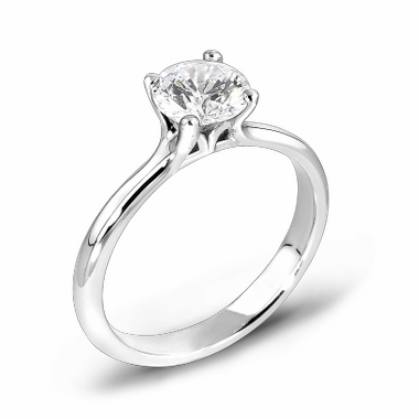 Classic Canadian Diamond Fairtrade Gold Engagement Ring in 18K White Gold