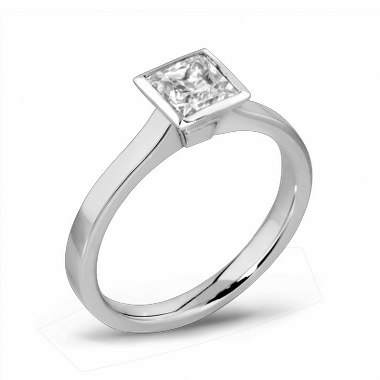 Princess Cut Diamond Fairtrade Gold Engagement Ring in 18K White Gold
