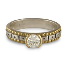 Solaris Engagement Ring in Sterling Silver Center & Base w 14K Yellow Gold Borders