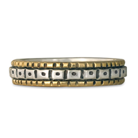 Solaris Wedding Band in Sterling Silver Center & Base w 14K Yellow Gold Borders