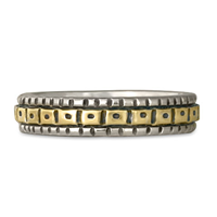 Solaris Wedding Band in Sterling Borders/18K Yellow Center/Sterling Base