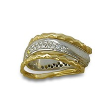 Diamond Classico Ring with Side Bands in 14K Yellow Gold Borders w 14K White Gold Center