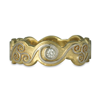 Triscali Ring with Diamonds in 14K Yellow Base/18K Yellow Center Design