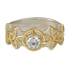 Trinity Ring with Gem in 14K White Gold Base w 18K Yellow Gold Center