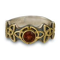 Trinity Ring with Gem in 14K Yellow Gold Design w Sterling Silver Base