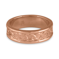 Bordered Rope Wedding Ring in 14K Rose Gold