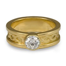 Bordered Rope Engagement Ring in 18K Yellow Gold