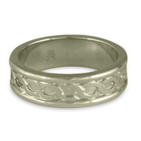Bordered Rope Wedding Ring in 14K White Gold