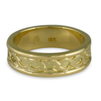 Bordered Rope Wedding Ring in 18K Yellow Gold