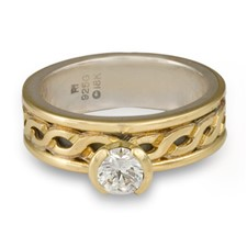 Bordered Rope Engagement Ring in 18K Yellow Gold Borders & Center w Sterling Silver Base