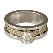 Bordered Rope Engagement Ring with Gems in Sterling Silver Borders & Base w 18K Yellow Gold Center