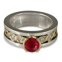 Bordered Rope Engagement Ring with Gems in Ruby