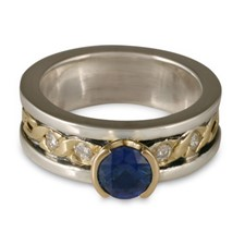 Bordered Rope Engagement Ring with Gems in Sapphire