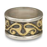 Bridget Wedding Ring in Sterling Silver Borders & Base w 18K Yellow Gold Center