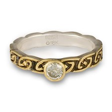 Borderless Petra Engagement Ring in 18K Yellow Design/Sterling Base