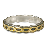 Borderless Rope Ring SGS  in Sterling Borders & Base w 14K Yellow Gold Center