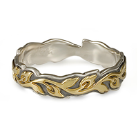 Narrow Borderless Flores Wedding Ring in 18K Yellow Gold Design w Sterling Silver Base
