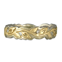 Narrow Borderless Flores Wedding Ring with Diamonds in 14K White Base with 18K Yellow Design