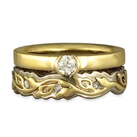 Adversus Flora Bridal Ring Set in 14K White Base with 18K Yellow Design