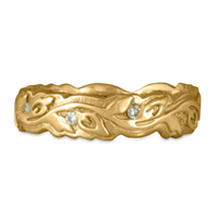 Narrow Borderless Flores Wedding Ring with Diamonds in 14K Yellow Gold