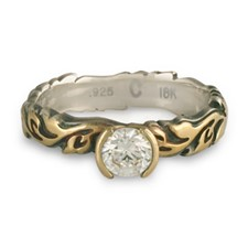 Narrow Borderless Flores Engagement Ring in 18K Yellow Gold Design w Sterling Silver Base