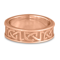 Bordered Heart Wedding Ring in 14K Rose Gold