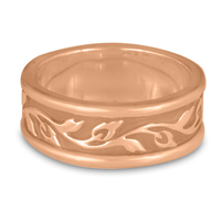 Narrow Bordered Flores Wedding Ring in 18K Rose Gold