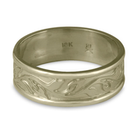 Narrow Bordered Flores Wedding Ring in 18K White Gold