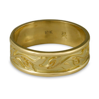 Narrow Bordered Flores Wedding Ring in 18K Yellow Gold